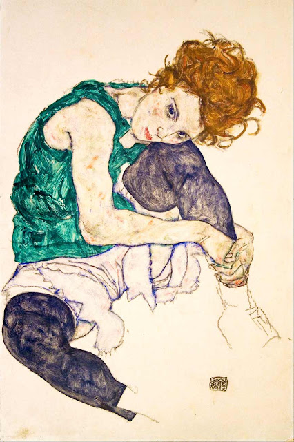 Egon Schiele, Seated woman with legs drawn up