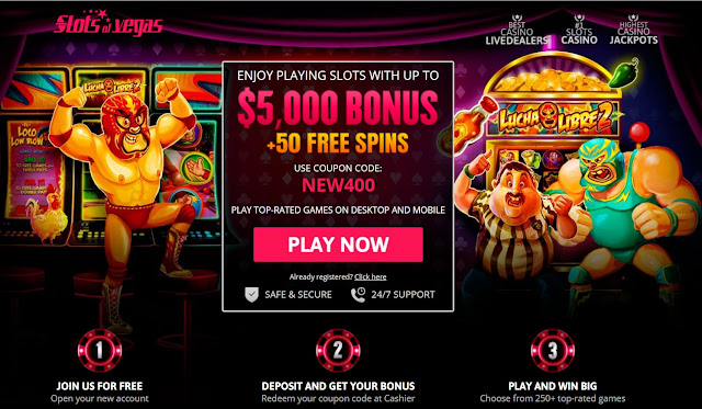 400% welcome match bonus and 50 free spins | Slots of Vegas casino