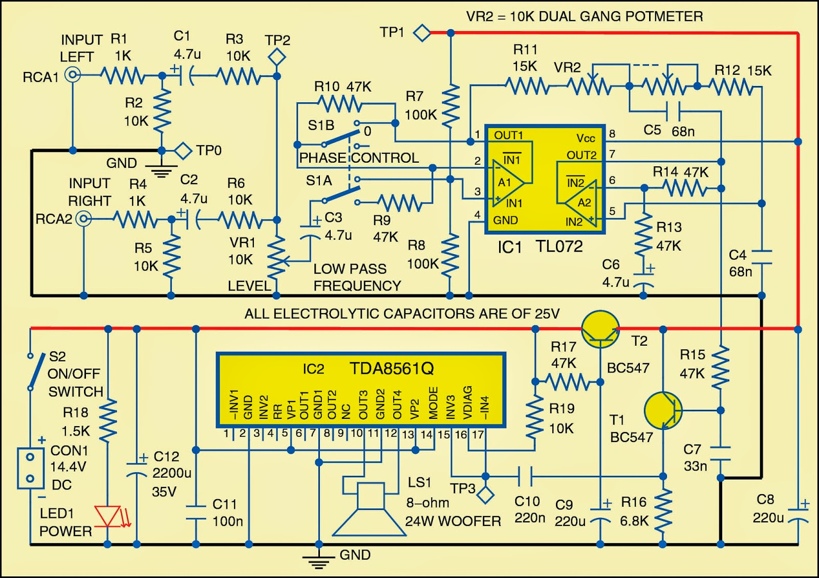 Car Subwoofer And Wiring Diagram Worksheet Bridge For Cars Circuit Electronic Circuits Rh Streampowers Blogspot Com Wattage