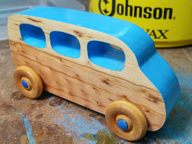 Woodent Toy Car - Mini Van - Play Pal - Edge Painted - Blue