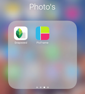 An iPhone screenshot of a folder called Photo's with Snapseed and PicFrame apps in