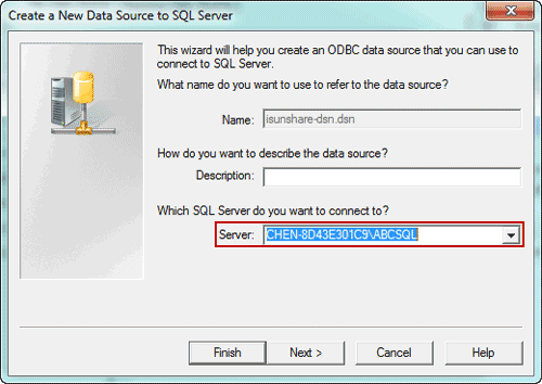 create an odbc data source to connect to SQL Server