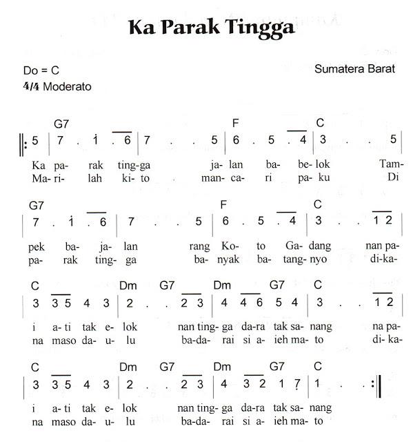 Not Angka Pianika Lagu Kaparak Tingga (Sumatera Barat)