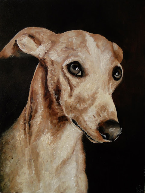 sepia-toned oil painting of a whippet with soulful eyes