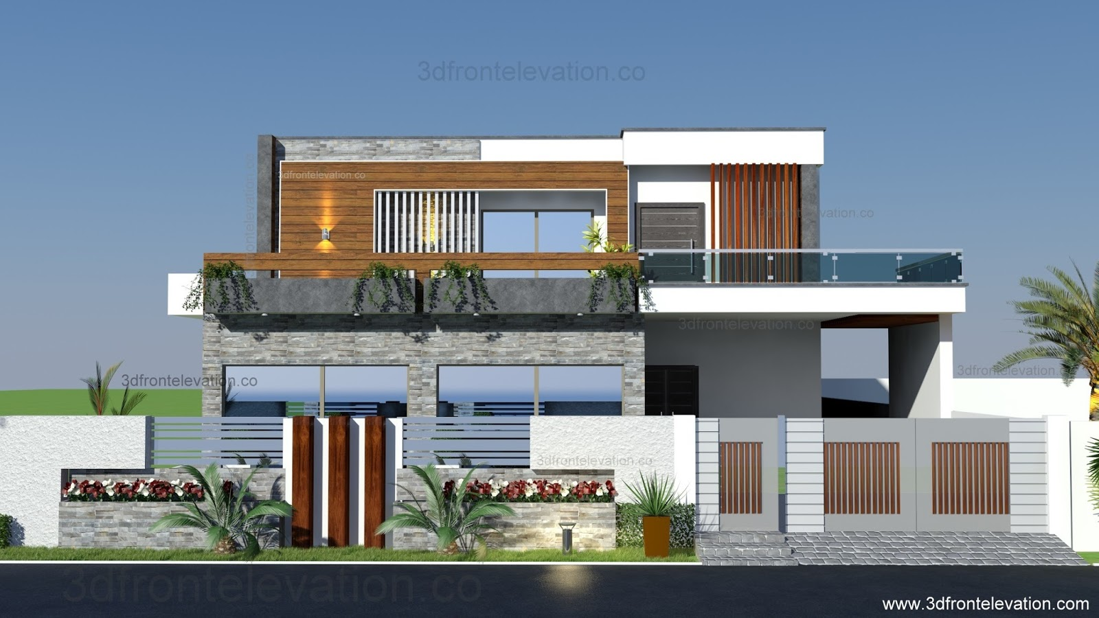 3d front portfolio for Latest house elevation