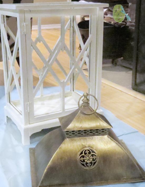 DecoArt outdoor paint white, antique white, gold metallic lantern, blue tarp