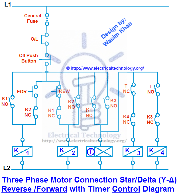 Three Phase Motor Connection StarDelta (YΔ) Reverse