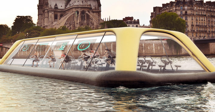 Floating Paris gym uses human energy to cruise down the Seine River