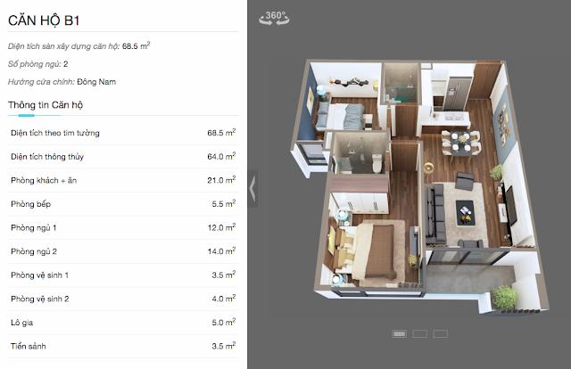 Thiết kế chi tiết căn hộ B1 chung cư The Legend