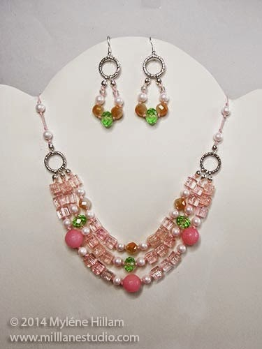 Knotted pink bead necklace and earrings set