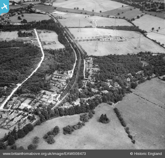 Photograph of Brookmans Park Transmitting Station and the Great North Road, Brookmans Park, 1947