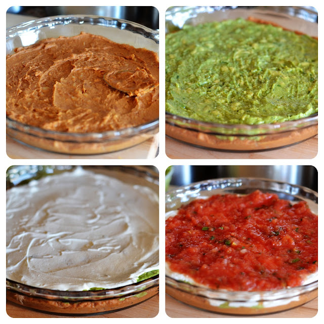 A refreshing dip with seven layers including refried beans, guacamole, sour cream and fresh salsa. Life-in-the-Lofthouse.com