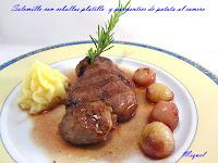 Solomillo de ternera con cebollas platillo al aroma de Oporto y Parmentier de patata al romero