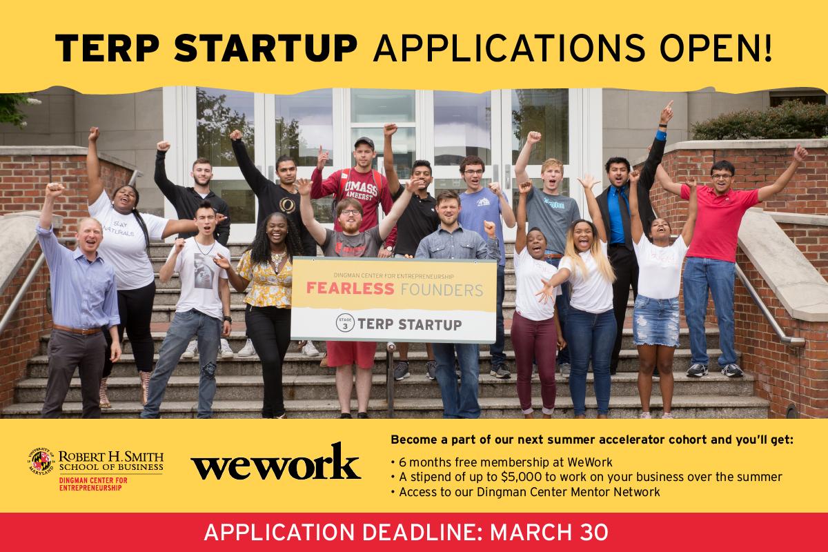Apply to Terp Startup and get WeWork Membership | CS