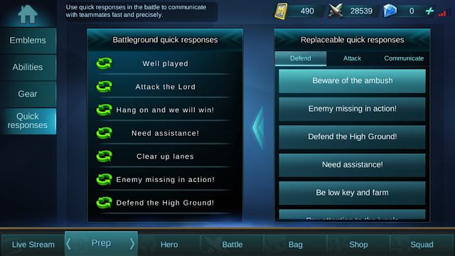 Fitur Quick Respons yang memudahkan komunikasi di Mobile Legends