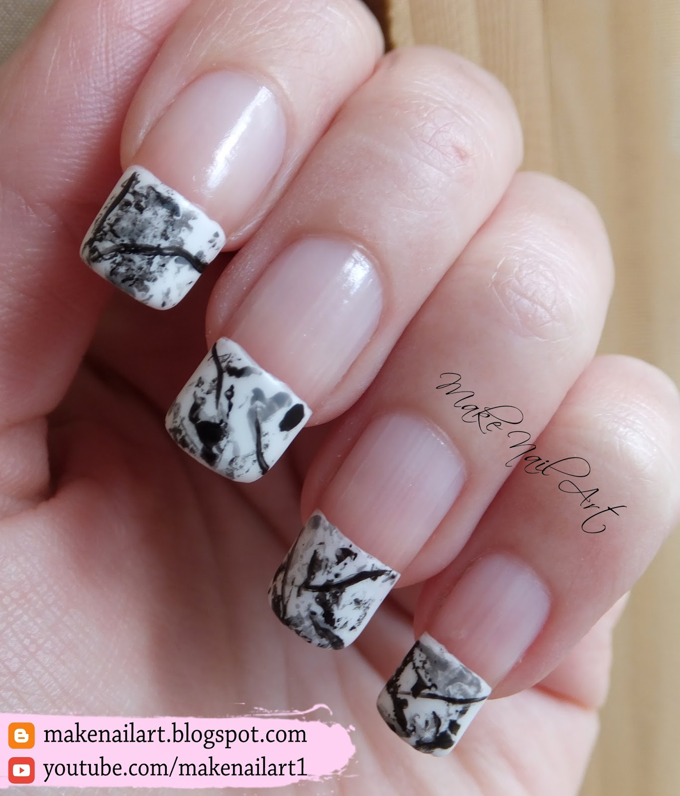 Make Nail Art Stone Marble French Manicure Nail Art Design Tutorial