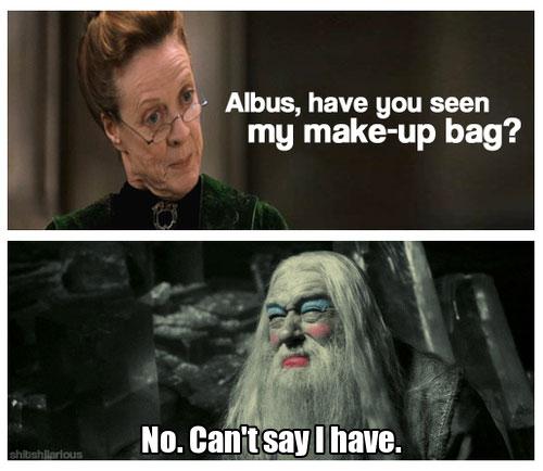 Dumbledore gets into Minerva's Make Up bag