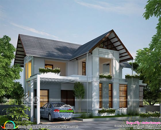 Sloping roof modern house with 3 bedrooms