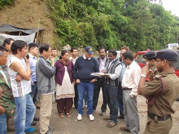 Officials inspect the site for the fire station at Ward-7 under Mirik Municipality.