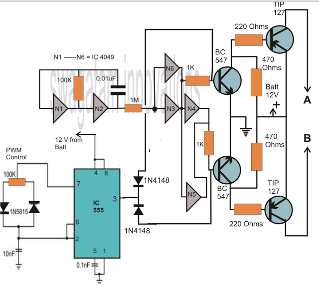 IC 4049 based modified sinewave inverter circuit