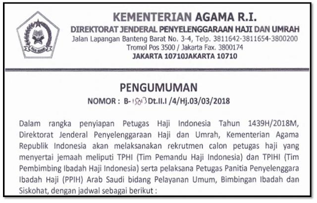 Jadwal Pendaftaran Caon Petugas Pembimbing Haji Indonesia