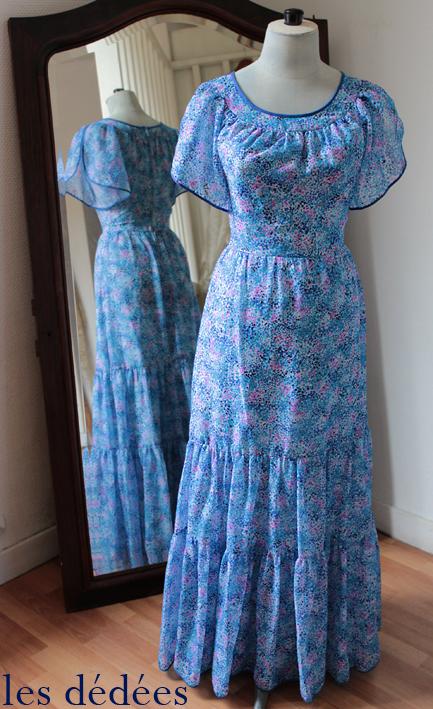 les dedees vintage recup creations la robe longue annees 70 la belle bleue by ben. Black Bedroom Furniture Sets. Home Design Ideas