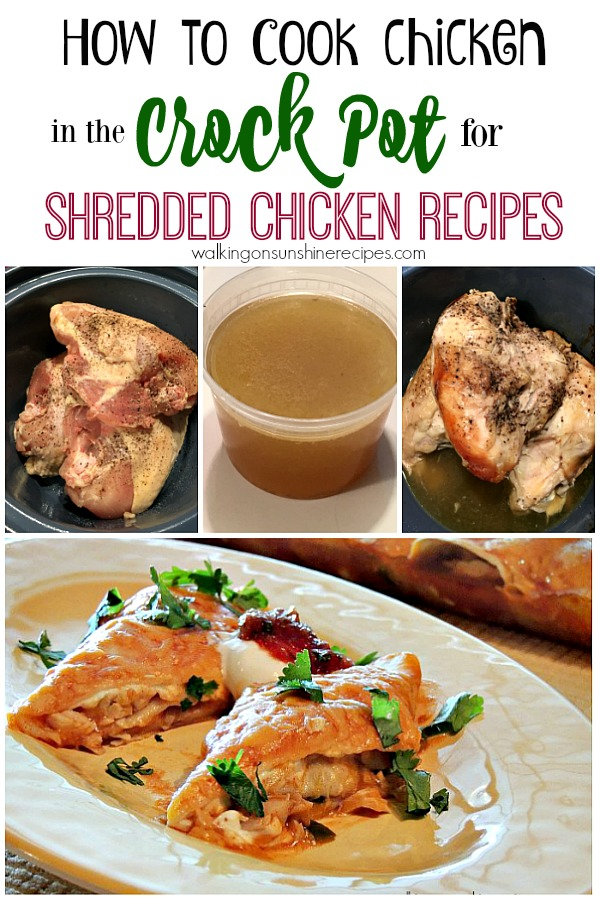 How to cook chicken for shredded chicken recipes from Walking on Sunshine Recipes
