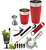 Tiger Chef 14-piece Stainless Steel Bar Set and Cocktail Making Set Includes Bar Tools and Accessories (14 Piece Set, Red)