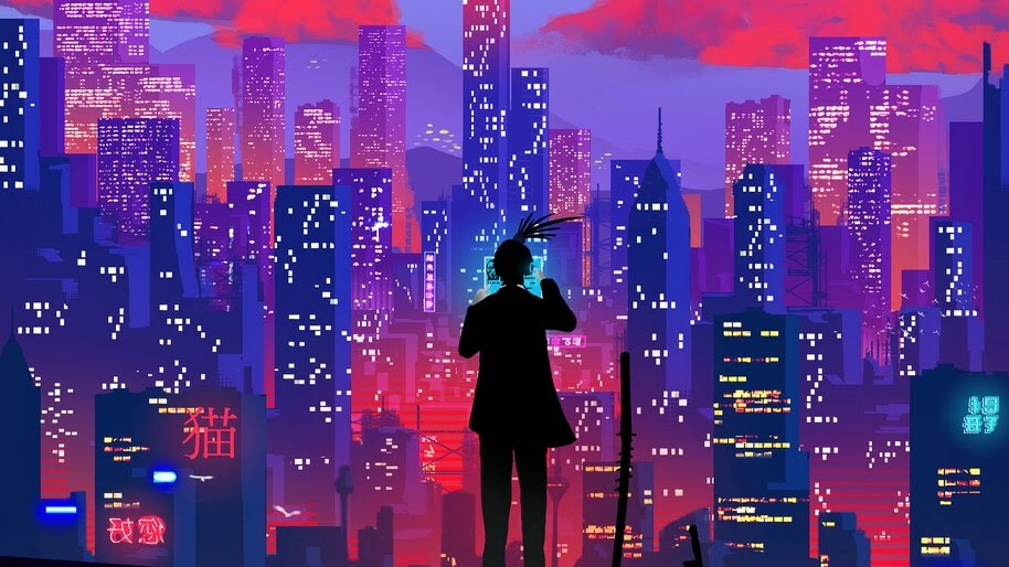 Night, City, Digital Art, Illustration, 4K, #4.2002