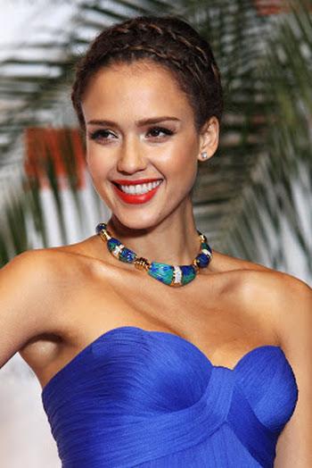 lipstick for royal blue dress jessica alba