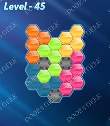 Block! Hexa Puzzle [Rainbow A] Level 45 Solution, Cheats, Walkthrough for android, iphone, ipad, ipod