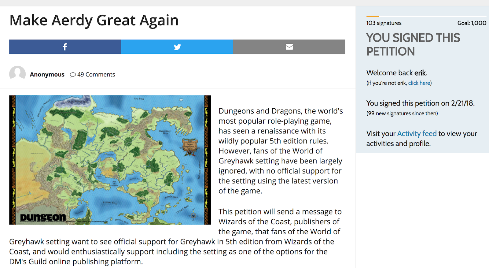 Awesome Our Very Own +Joseph Bloch (aka The Greyhawk Grognard) Has Started A  Petition To Have WotC Officially Support The World Of Greyhawk With The  Dungeons ...