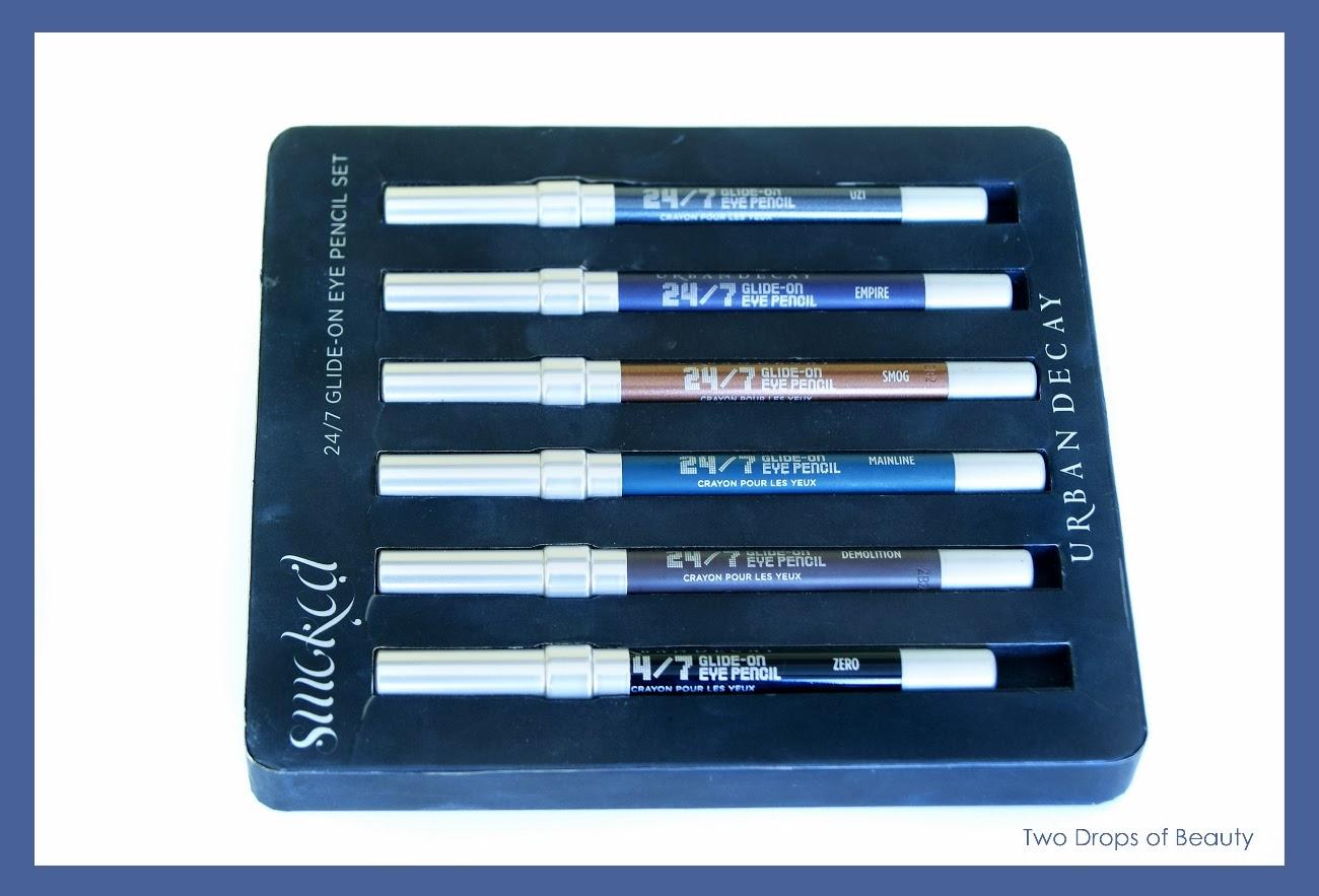 Urban Decay, glide on 24/7 pencil set, карандаши для глаз, набор, smoked
