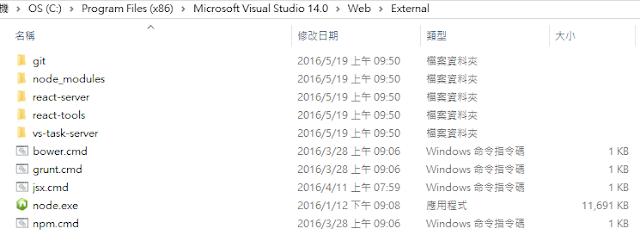 Visual Studio 2015 內建 node 相關工具