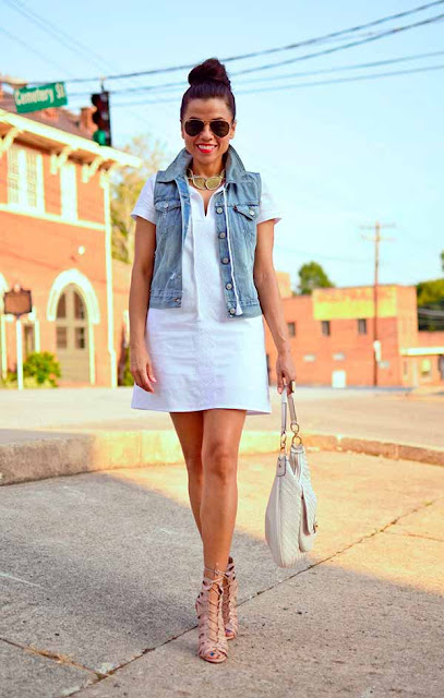 Colete jeans com vestido
