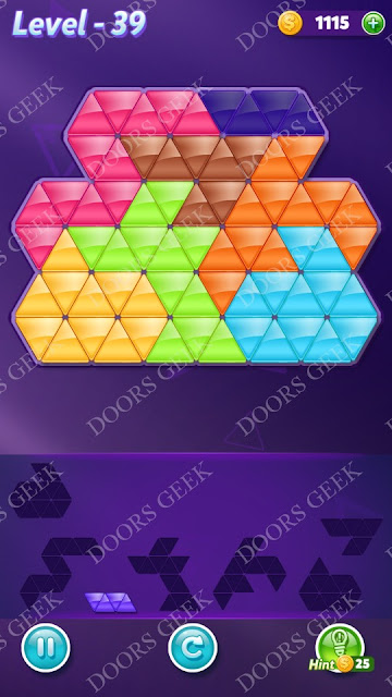 Block! Triangle Puzzle Advanced Level 39 Solution, Cheats, Walkthrough for Android, iPhone, iPad and iPod