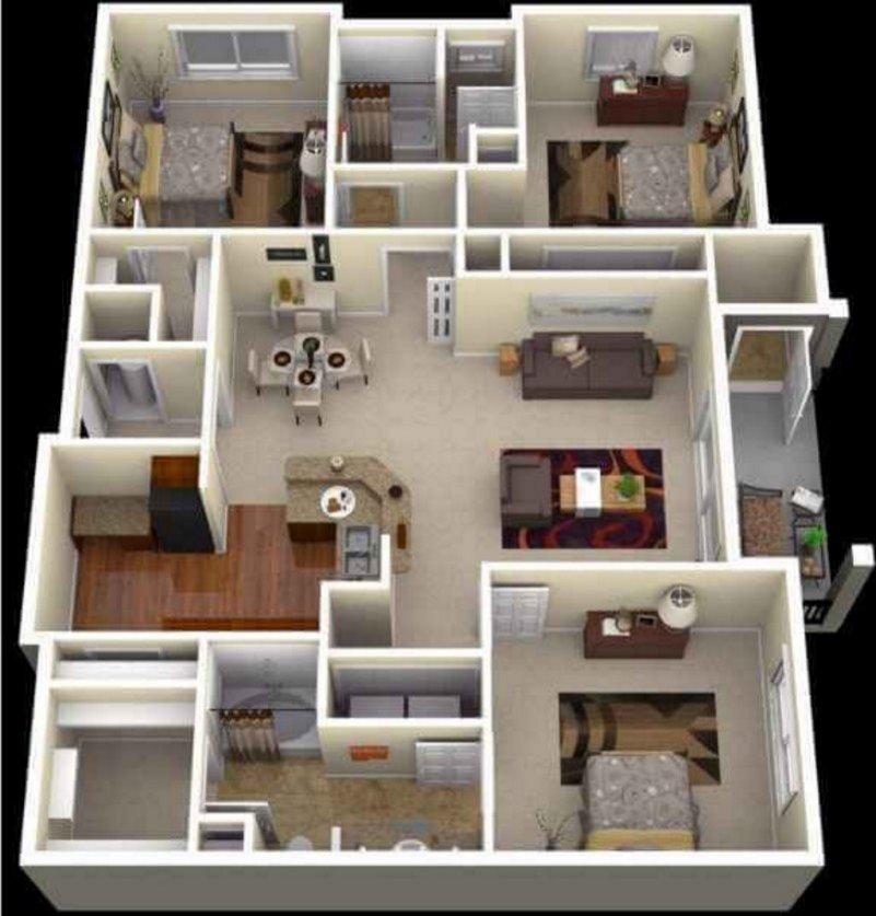 denah rumah 9x12 3 kamar tidur 4