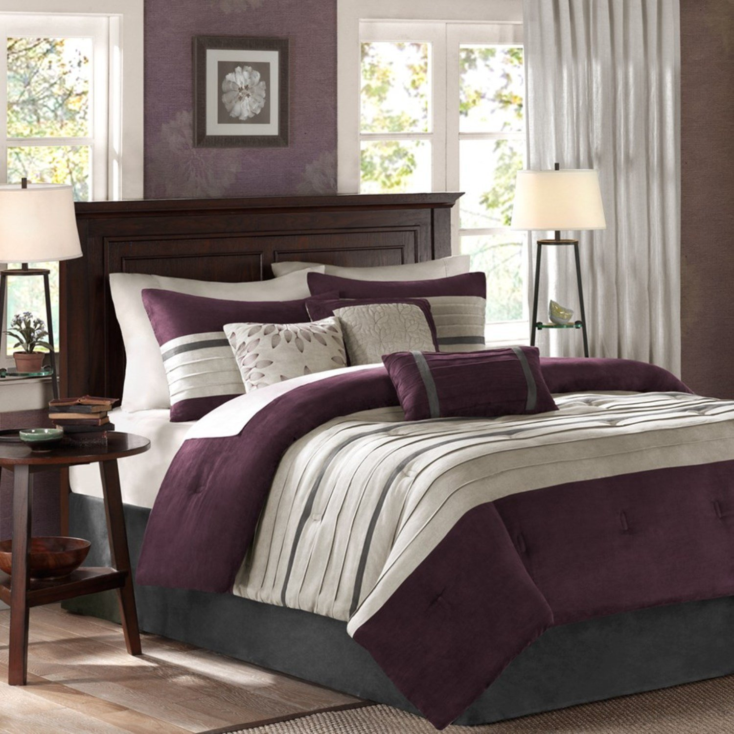 Bedding Decor: Grey And Purple Comforter & Bedding Sets