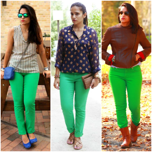 Three Ways To Style A Green Denims, Tanvii.com
