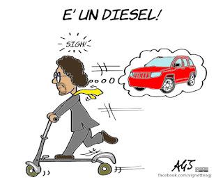 toninelli, auto inquinanti, diesel, SUV, auto elettrica, vignetta, satira