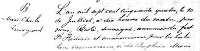 Charlotte Lunegand 1754 baptism record part 1