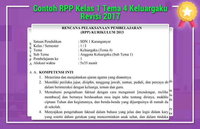 Contoh RPP Kelas 1 Tema 4 Keluargaku Revisi 2017