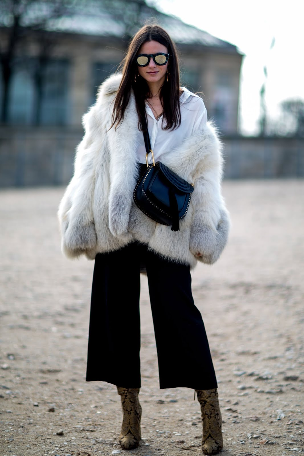 white faux fur coat, fashion, ootd, outfit post