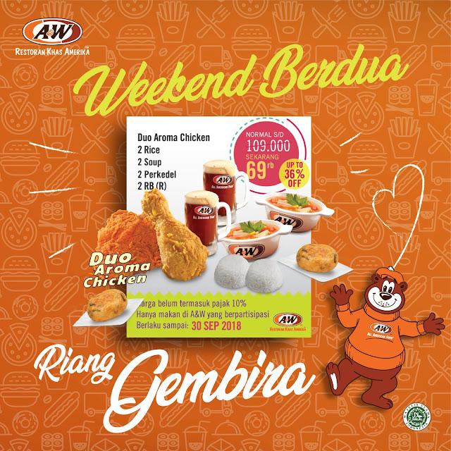 A&W - Promo Paket Weekend Berdua Diskon 36% Jadi Cuma 69 Ribu (s.d 30 Sep 2018)