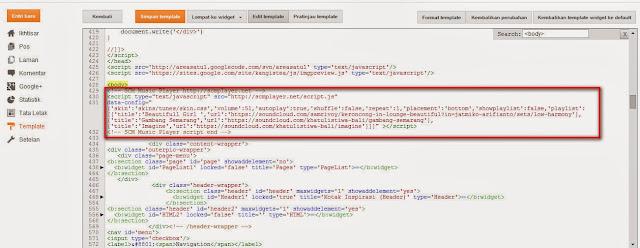 Cara memasang kode Player musik Pada Blogspot