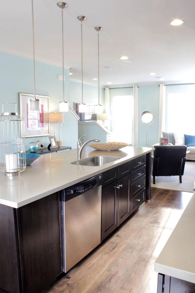modern kitchen with dark espresso cabinets with stainless appliances