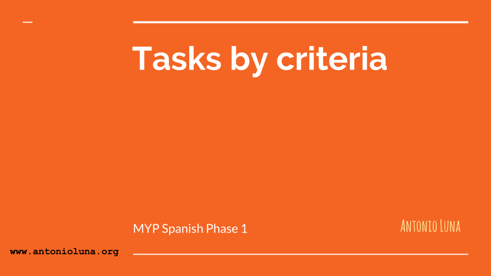 Tasks by criteria - Phase 2 Luna profe