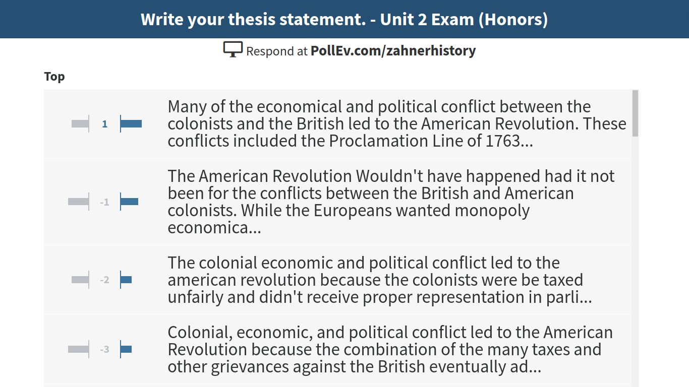 thesis statement on american revolution The thesis statement and american revolution you see here is just a sample research paper ofit does not announce the topic of your paper or simply restate the paper prompt weak thesis: the revolutionary war caused great upheaval in the lives of.