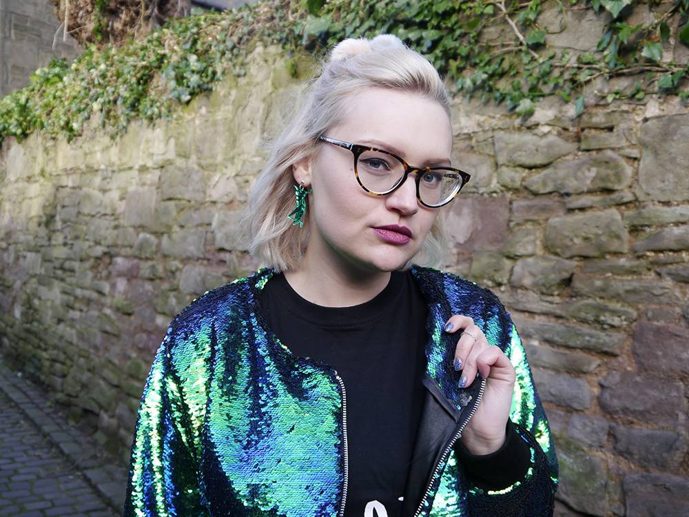 Dundee street style featuring isolated heroes sequin bomber and sugar and vice insect collection