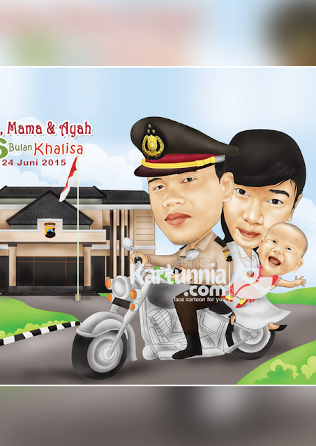 karikatur keluarga polisi naik motor